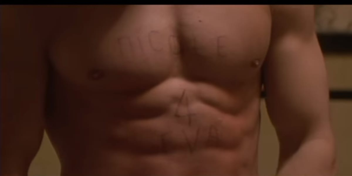 Nicole 4 Eva, carved onto David's chest by David himself, in Fear