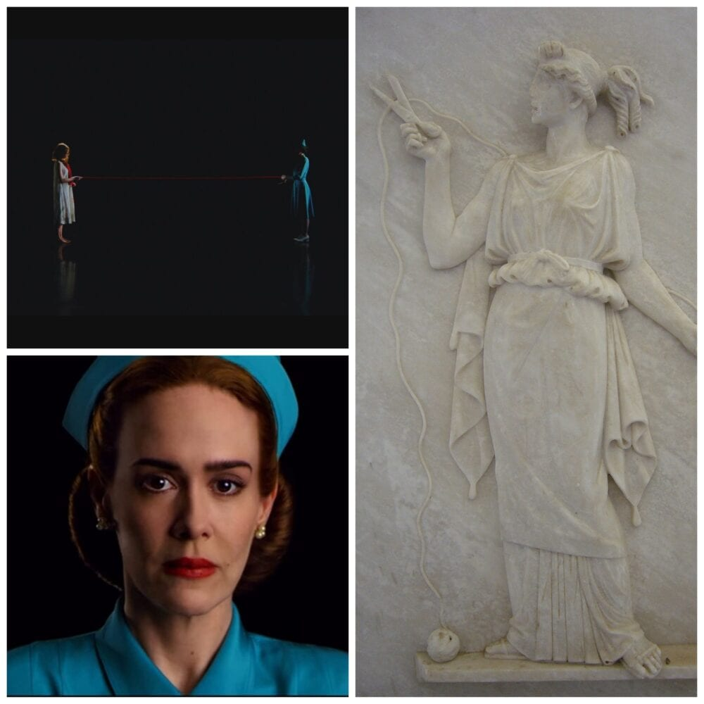 three slides which show Nurse Ratched cutting the red thread of life (left side) and an ancient Greek carved relief of Atropos cutting a thread (right side)