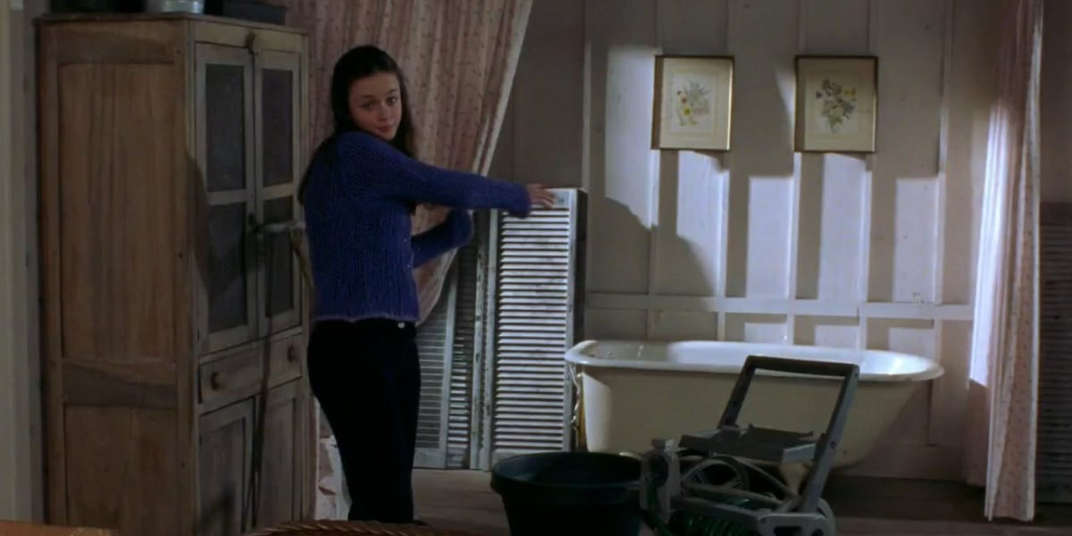 Rory giving the grand tour of the potting shed in Gilmore Girls