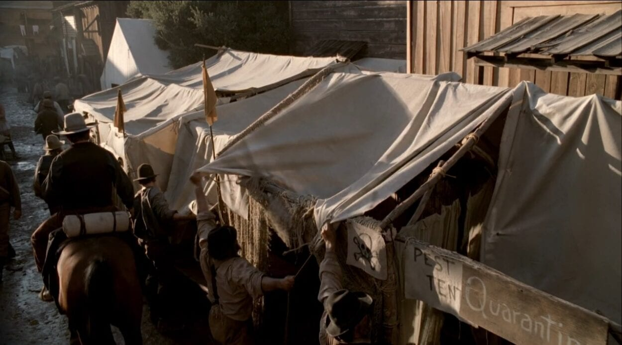 "The ""Pest"" tents are set up to house the sick in a scene from Deadwood."