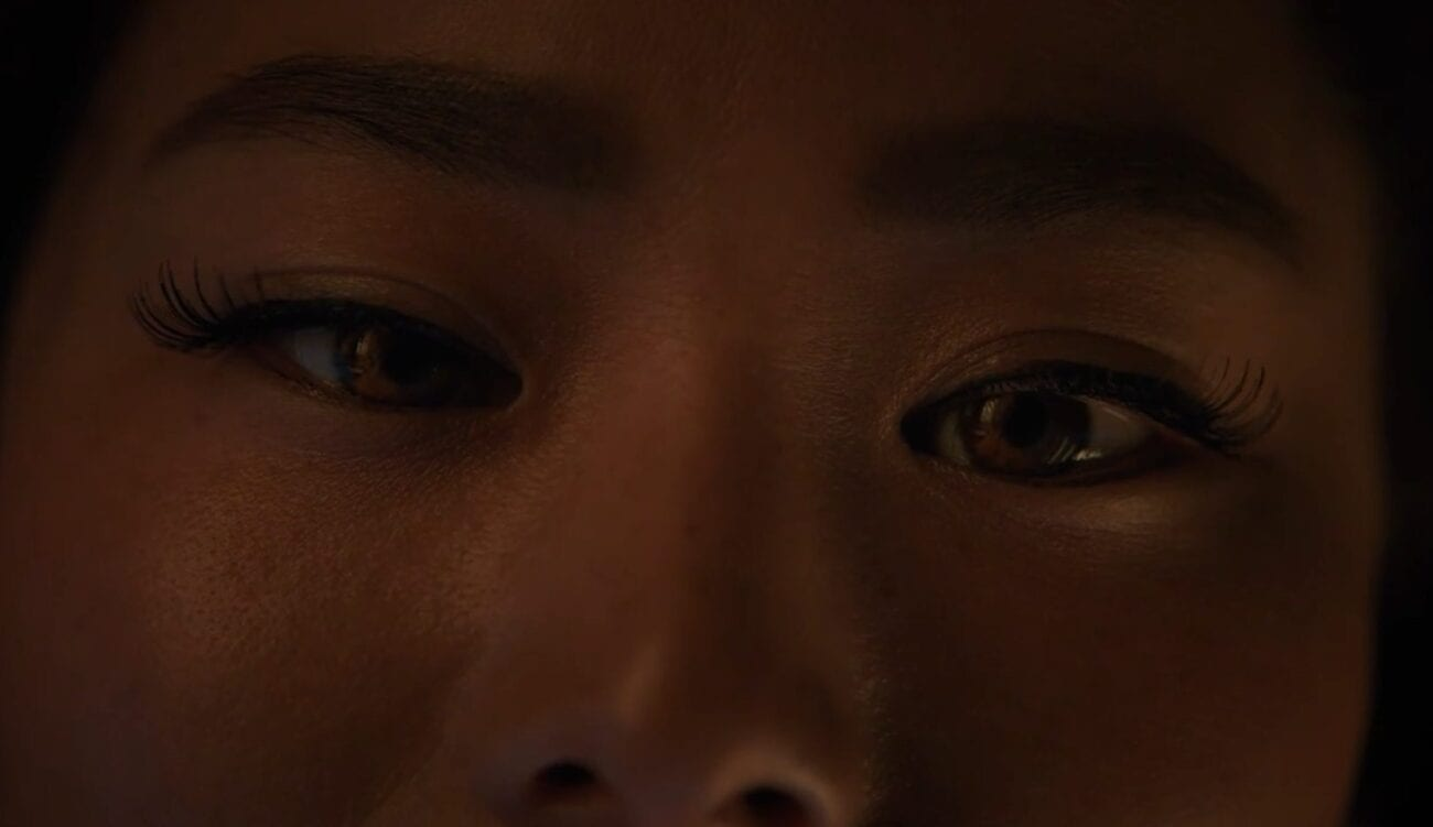 Ji-ah's eyes turn orange as she becomes the fox spirit