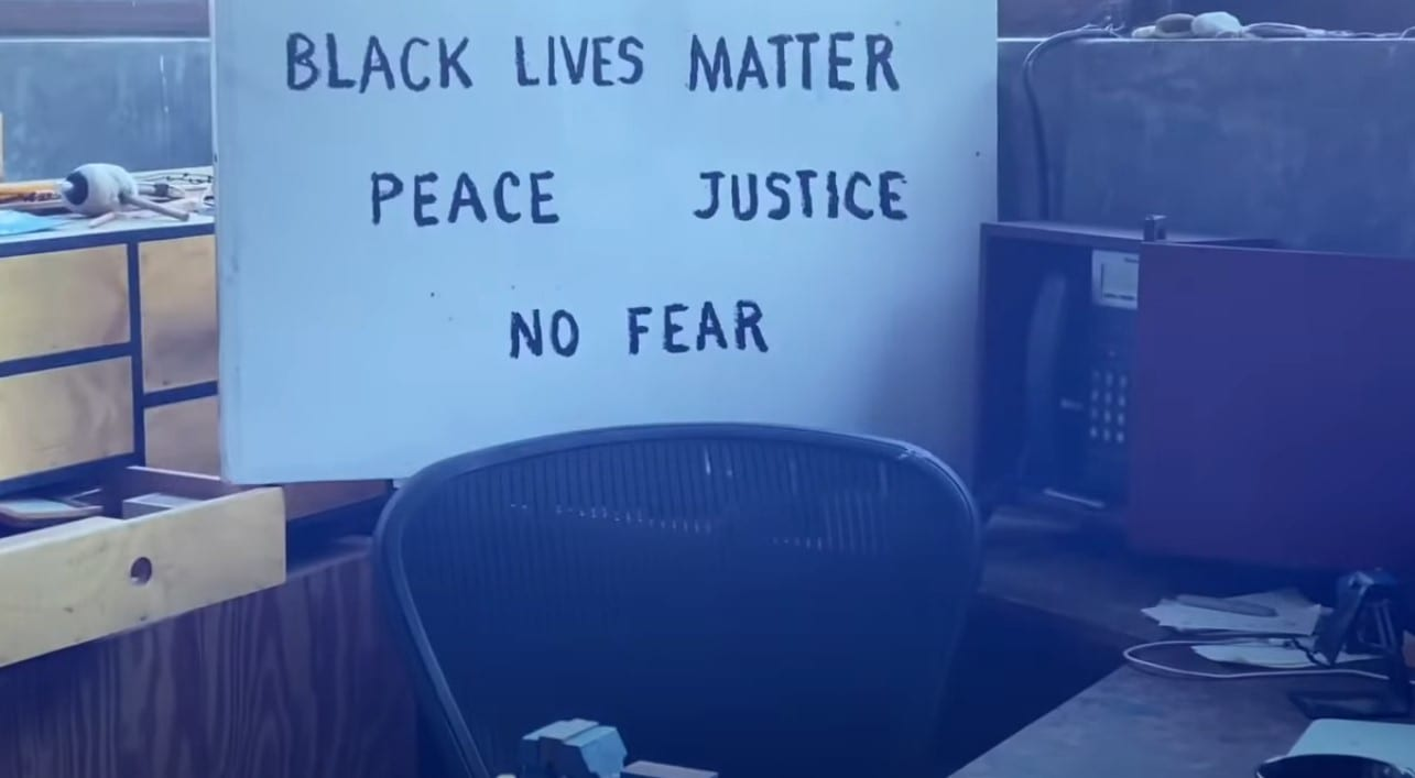 "A protest sign from David Lynch that reads ""Black Lives Matter. Peace. Justice. No fear."""