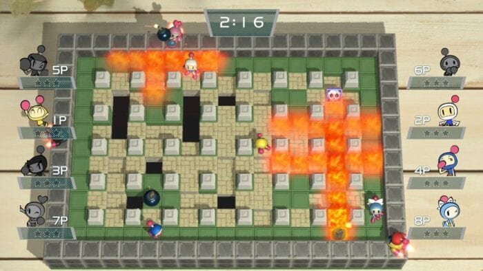 The classic top down Bomberman footage.