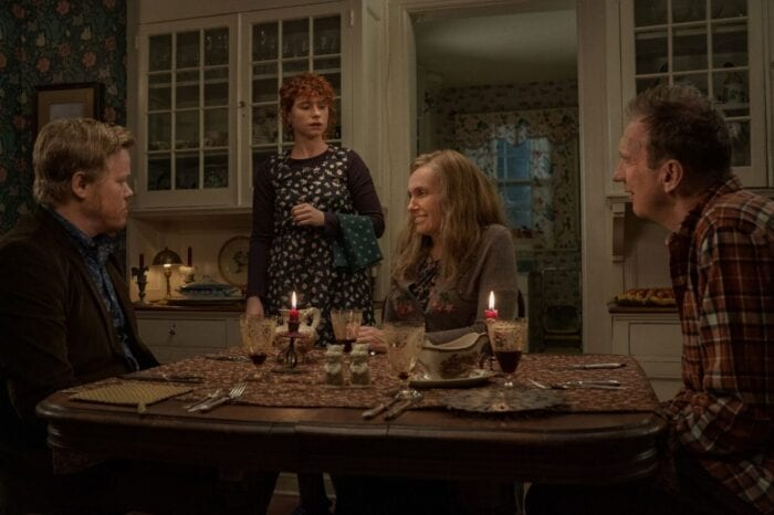 Jake and his girlfriend join his parents for dinner/