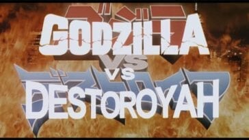 "Title card for Godzilla vs. Destoroyah. The English words ""Godzilla vs. Destoroyah"" are overlaid on the Japanese words, with raging flames in the background."