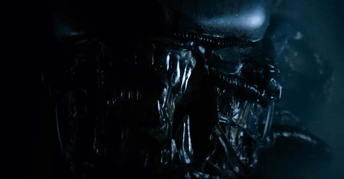 an upclose shot of a xenomorphs mouth, the first time it appears on screen