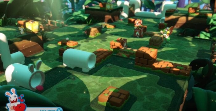 An example of the 3D isometric battle view of Mario Rabbid Kingdom Battles