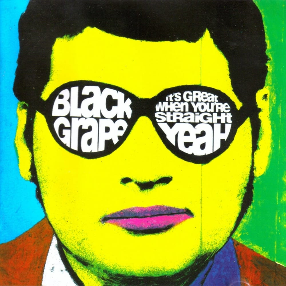 A painting of a green skinned meloncolie man with purple lips, black hair, and sunglasses containing white text of the band name in one lens area and the album name in the other lens area.