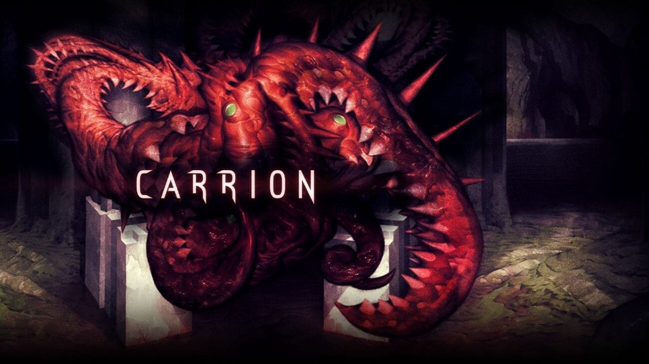 Title screen for Carrion depicting the titular creature