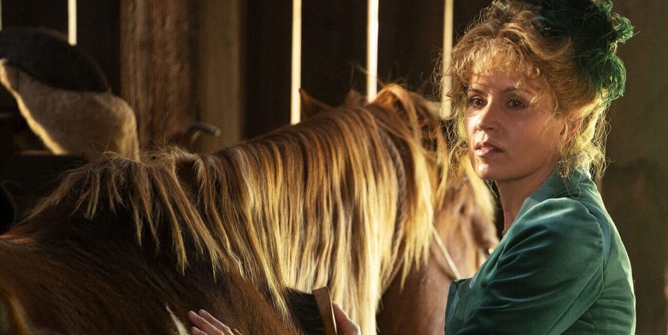 Joanie Stubbs (Kim Dickens) tends to a horse in Deadwood: The Movie.
