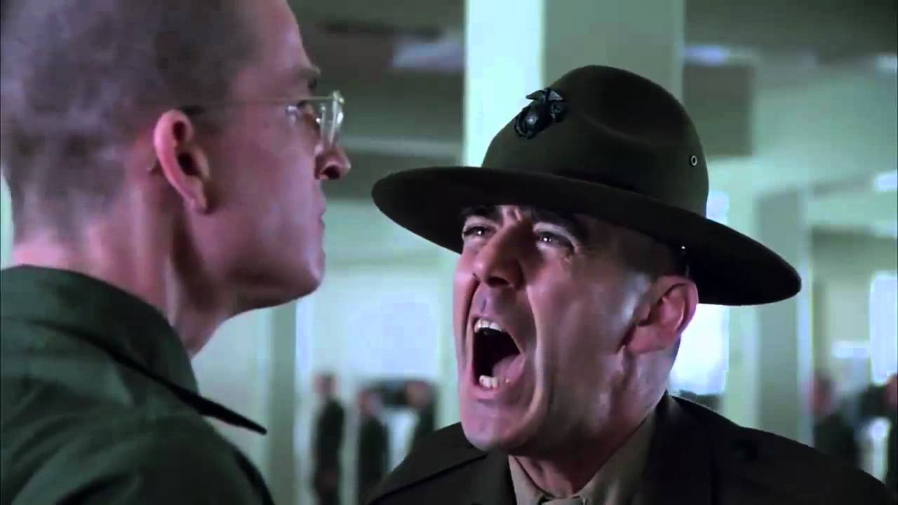 Two characters from Stanley Kubrick's Full Metal Jacket scream into each others faces