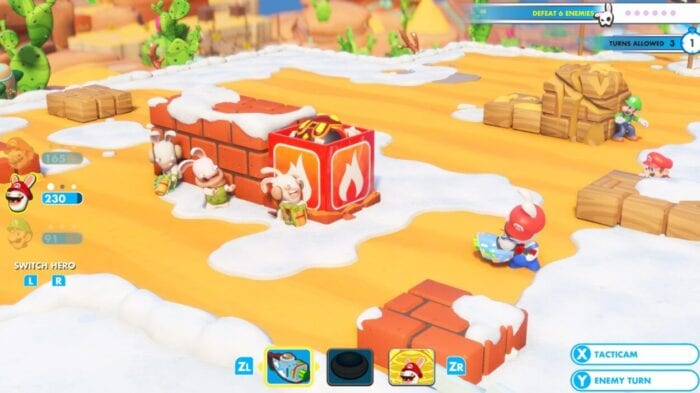 Rabbid Mario takes aim at an opponent