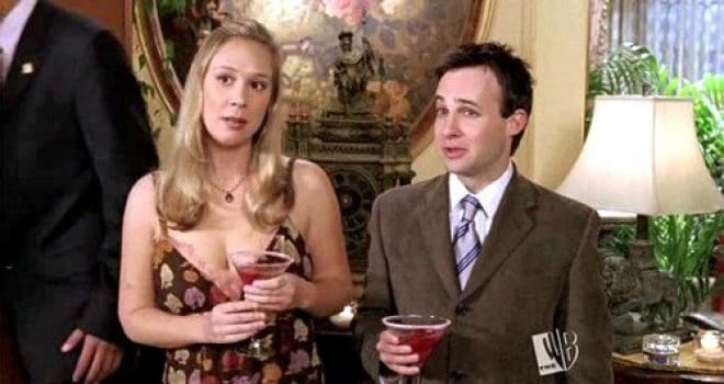Paris and Doyle holding drinks