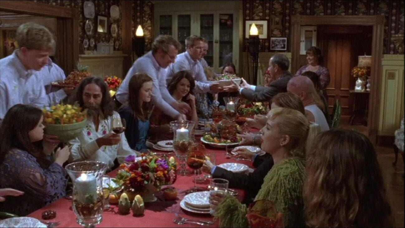 Rory and Lorelai at a large Thanksgiving dinner