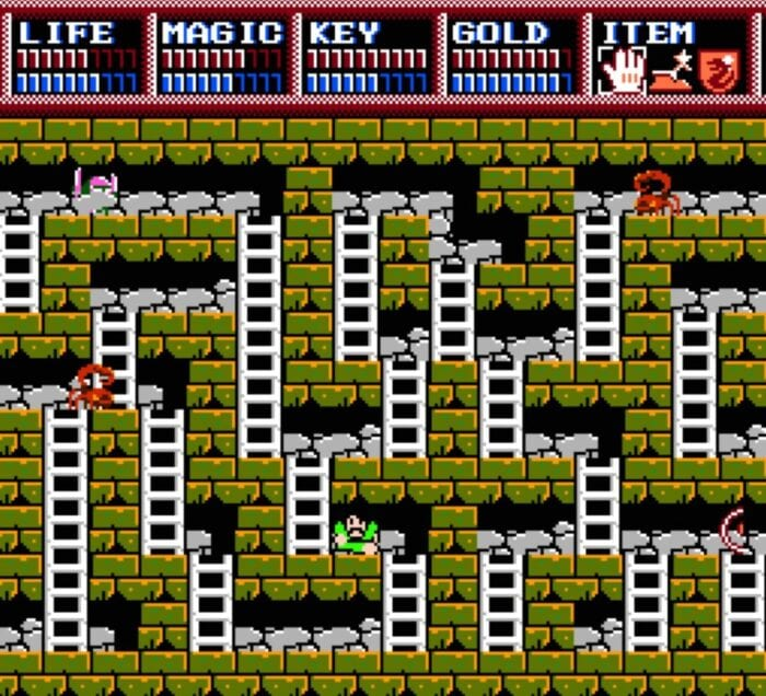 The Father from Legacy of the Wizard nagivates an 8bit dungeon full of monsters and ladders