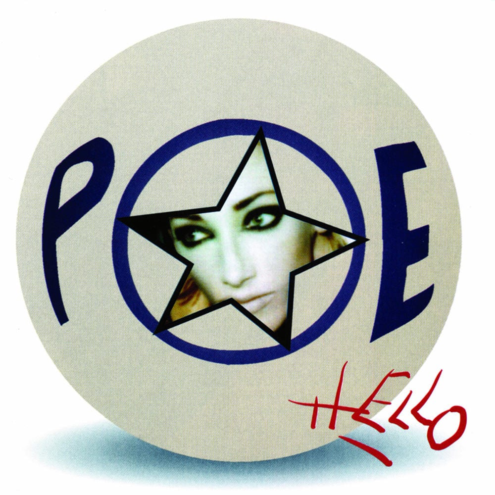 A round white ball contains the blue letters of Poe, and a star-shaped cutout inside the O reveals the singer's face looking to the left.