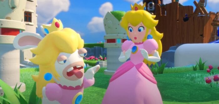Princess Peach and her rabbit doppelganger