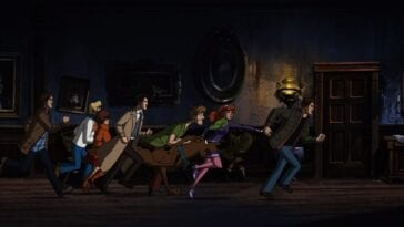 The cast of Supernatural intermingles with the cast of Scooby-Doo as they all run down the hallway of a spooky mansion
