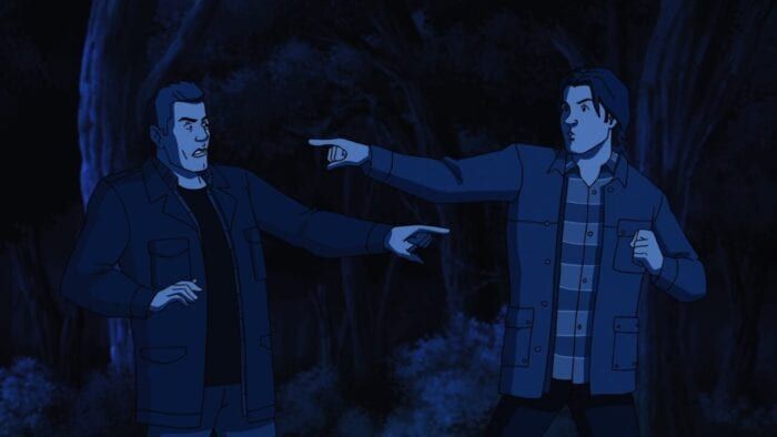 Sam and Dean stand shocked and pointing at each other realizing they've been animated
