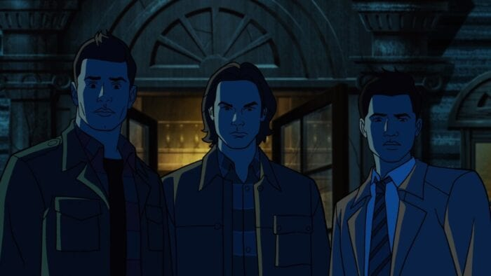 Dean, Sam and Castiel stand outside a large mansion