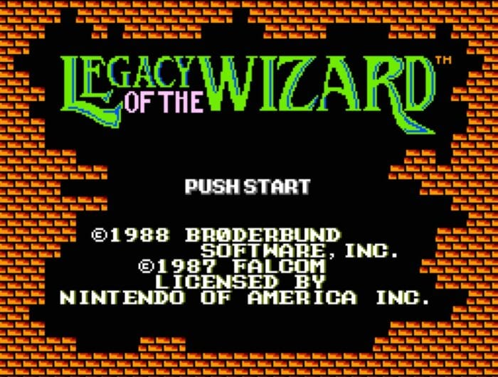 Titles screen for Legacy of the Wizard