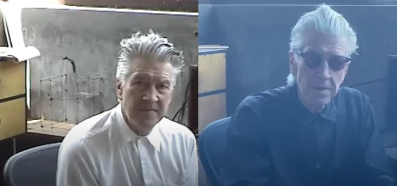 Side-by-side shots of Lynch at hi desk, roughly 20 years apart