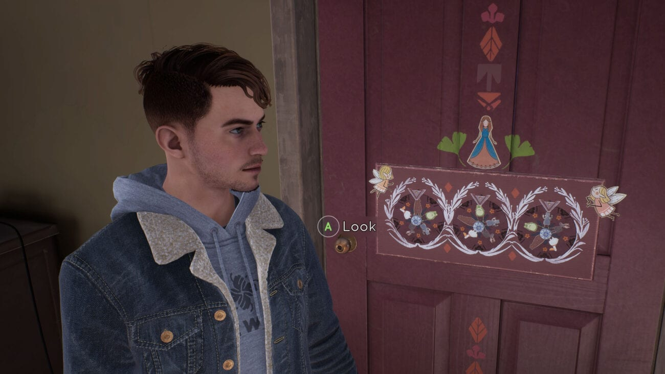 Tyler looks at cryptic puzzle symbols on a door