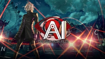 AI title screen with the main character standing as oncoming lights flash in the distance