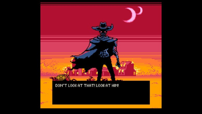A shadowy gunslinger, with two moons in the sky. The text reads: Don't look at that! Look at him!