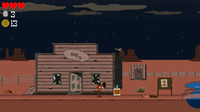 The scene shows a man in a dilapidated old west town.