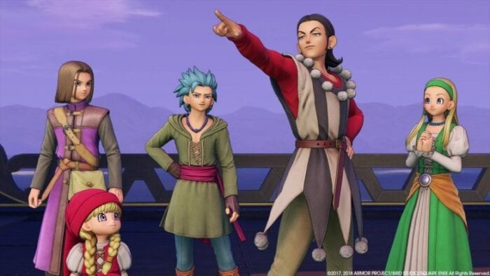 Your Dragon Quest party, being guided by entertainer Sylvando.