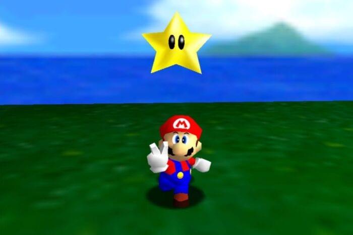 Mario collects a star in Super Mario 64.