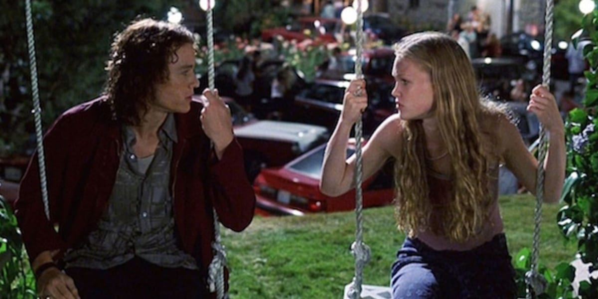 Patrick and Kat sitting side by side in a playground, on swings in 10 Things I Hate About You