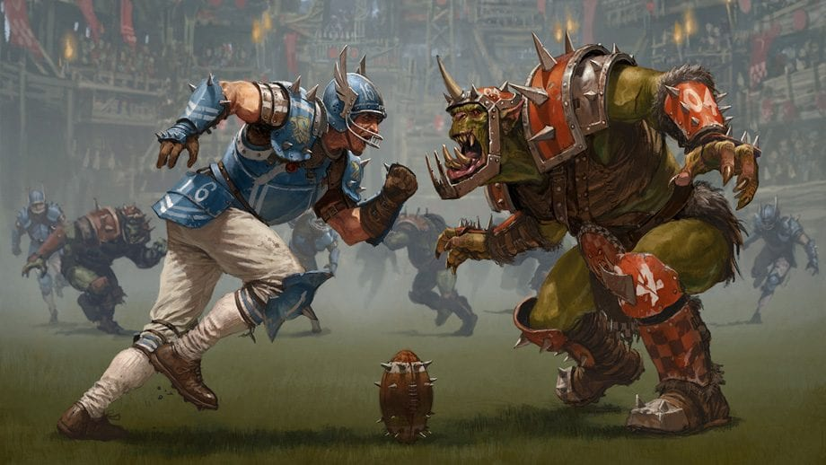 Orcs and warriors play a deadly game of football.