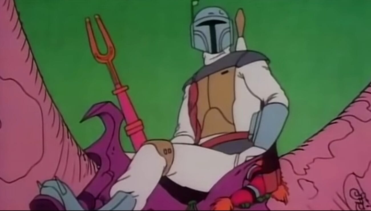 An animated Boba Fett sits in the saddle of a creature