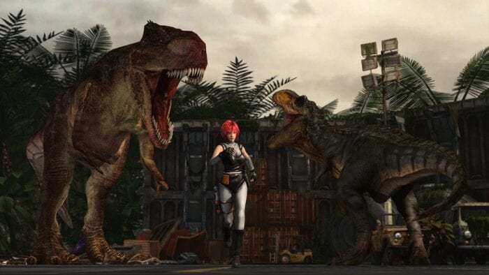 The protagonist of Dino Crisis runs from T rexes