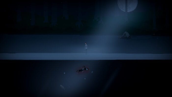 An outside source of light shines down on a body laying on the ground in the darkness.