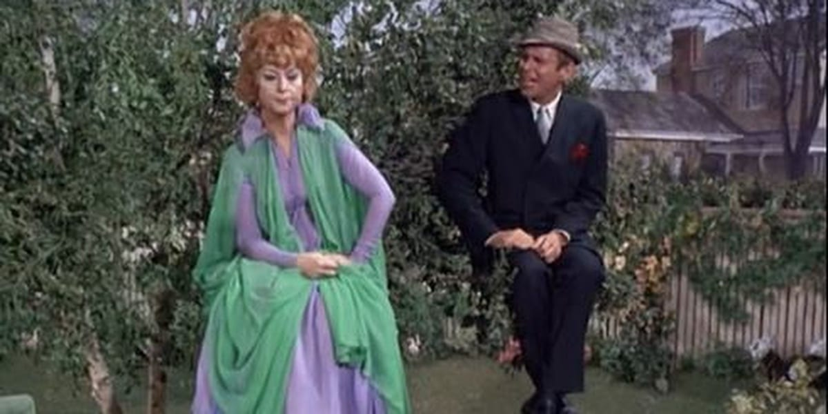 Endora and Arthur floating in a tree Bewitched