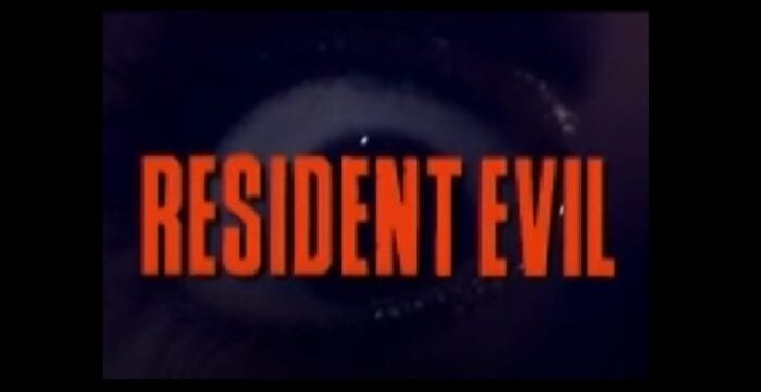 Resident Evil title screen with close up in Chris' eyeball