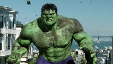 The Hulk on the rampage in San Francisco pursued by the military
