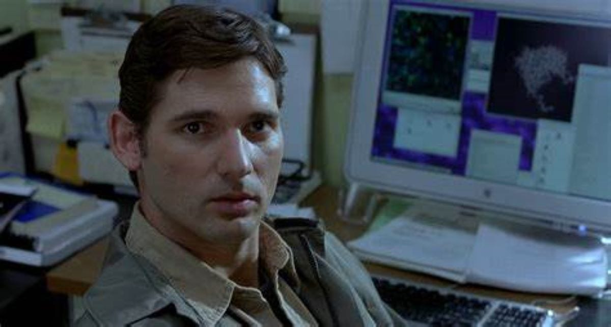 Eric Bana as Bruce Banner in his lab in Hulk