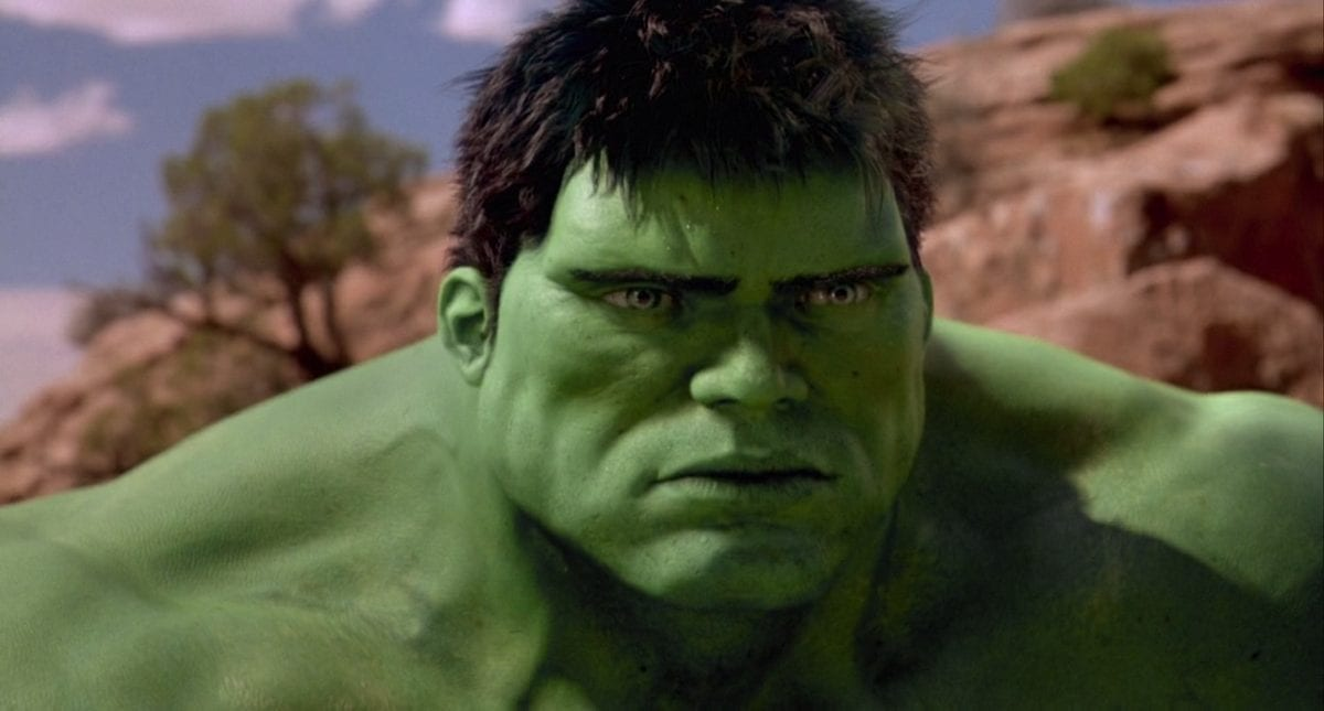 Hulk quietly contemplates existence in the desert in the 2003 version of Hulk