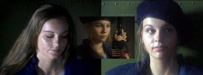 Three images of Jill Valentine, two in her trademark beret, one with her hair down.
