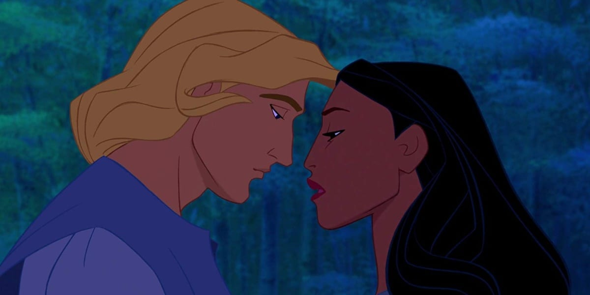 John and Pocahontas, nose to nose, look at each other sorrowfully