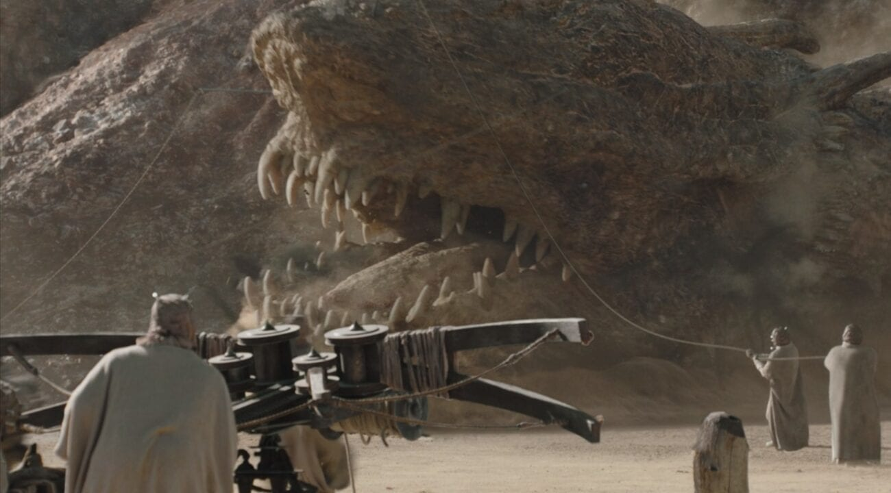 Tusken Raiders attempt to bring down an attacking Krayt Dragon