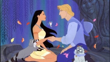 Pocahontas and John Smith face each other kneeling and holding hands, surrounded by woodland creatures and Grandmother Willow, a tree with a face carved in it
