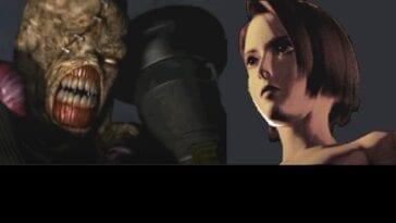 Nemesis, a mutated monster and Jill Valentine are featured