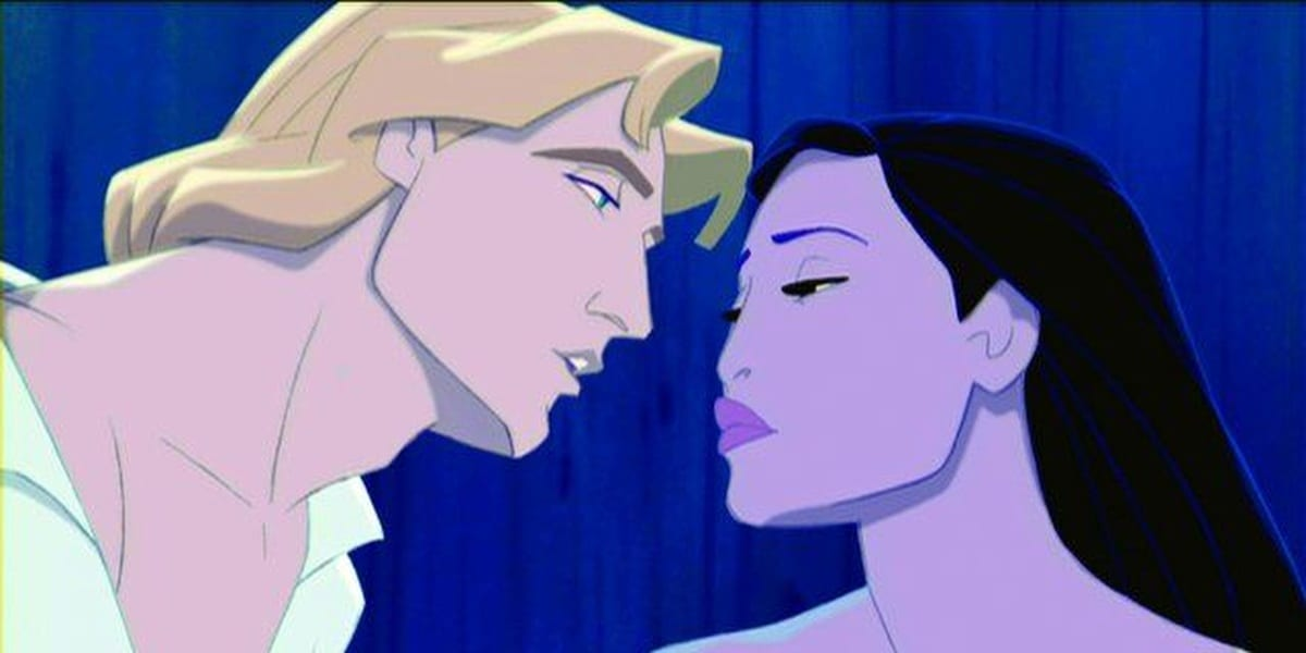 Pocahontas and John Smith lean into each other for a kiss
