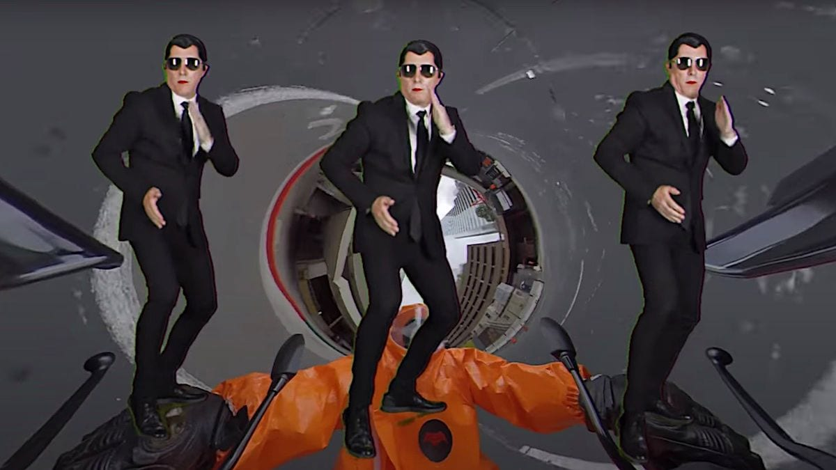 Maynard James Keenan dances in triplicate in Puscifer's Apocalyptical video