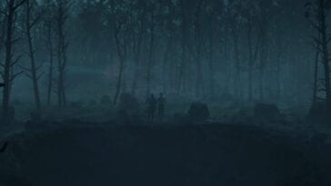 Mother and Father stand at the edge of a hole in a dark forest